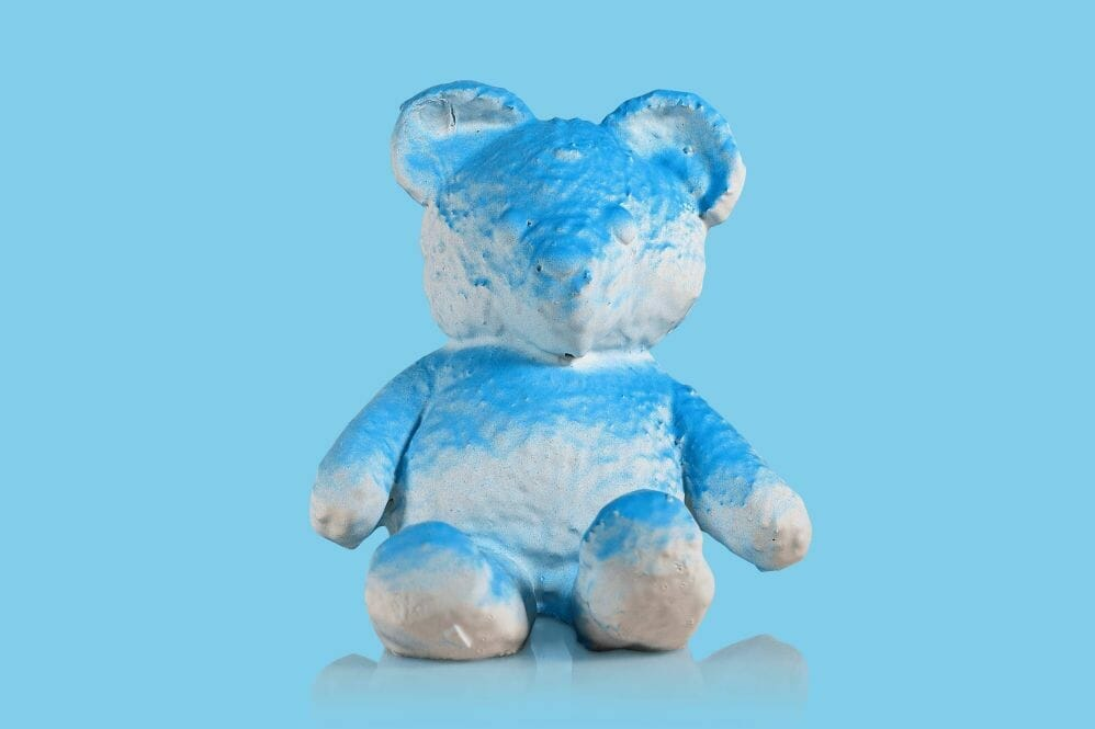 """Daniel Arsham """"Cracked Bear Blue"""" Pigment, Plaster, and Fabric. 2018. Image © Nonsuch Editions."""