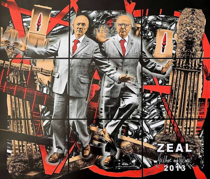 """Gilbert & George """"Scapegoating Pictures: Zeal"""" Poster. 2014. Image © Nonsuch Editions."""