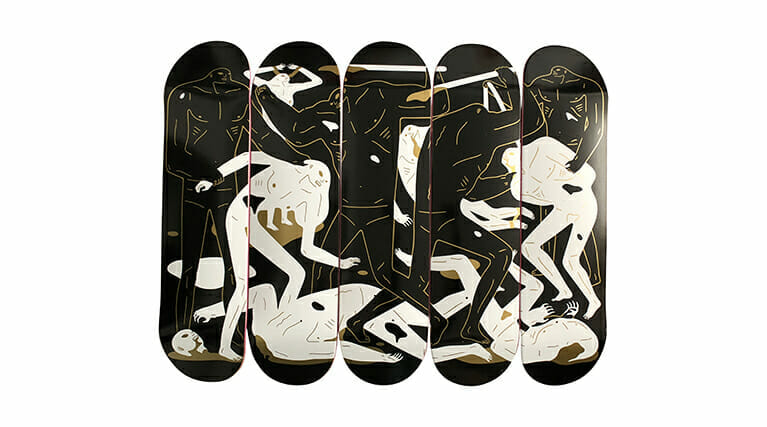 """Cleon Peterson """"Between Man And God"""" Wood Skateboard. 2018. Image © by Nonsuch Editions."""